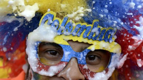 Fans of 'los cafeteros' in Medellin, Colombia, get behind their team as they make an appearance at the World Cup for the first time since 1998.