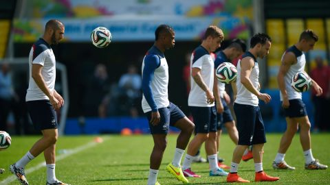 Valbuena (C) and Benzema (L) are pictured together at French  training session at the Maracana Stadium Stadium in Rio de Janeiro on July 3, 2014, ahead of their match against Germany in the quarterfinals of the 2014 FIFA World Cup on July 4.
