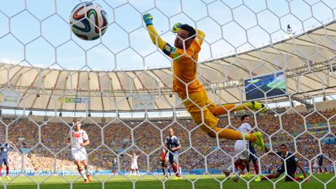 The ball flies by French goalkeeper Hugo Lloris after a header by Germany's Mats Hummels opened the scoring in their World Cup quarterfinal July 4 in Rio de Janeiro. It was the only goal in the match as Germany won to advance to the semifinals.
