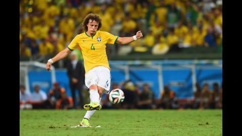 David Luiz gave Brazil a 2-0 lead with a stunning long-range free kick in the second half.