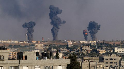 A ball of fire is seen following an Israel airstrike on Gaza International Airport in Rafah, southern Gaza, on July 7, 2014.