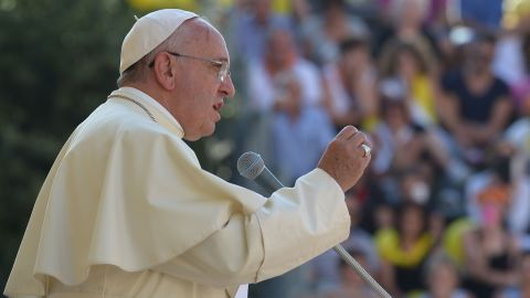 Pope Francis Francis delivers a speech in Isernia, southern Italy, on July 5, 2014 as part of a one day visit in the Molise region. AFP PHOTO / ALBERTO PIZZOLIALBERTO PIZZOLI/AFP/Getty Images
