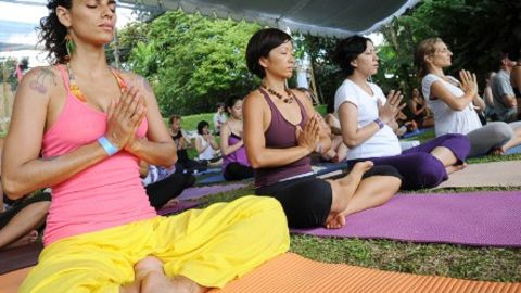 Yoga practitioners at the 2011 Bali Spirit Festival.