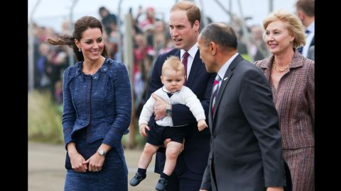 Catherine and William speak to New Zealand Governor-General Sir Jerry Mateparae and his wife, Janine, before boarding a flight to Australia on April 16.