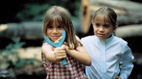 """The Olsen twins (Ashley, left, Mary-Kate, right) play the old switcheroo in 1995's """"It Takes Two."""" Obviously camp encourages creativity and role playing."""