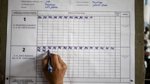A man tallies the vote count at a Jakarta polling station after the presidential election.