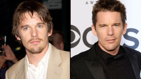 """Ethan Hawke was about 32 when he began working with Linklater on """"Boyhood."""" With the movie spanning 12 years, fans can see Hawke go from a fuller-faced 30-something, left, to a more chiseled, seasoned star."""