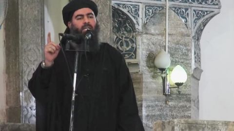 This still from a video purports to show Abu Bakr al-Baghdadi delivering a sermon at a mosque in Mosul on July 5.