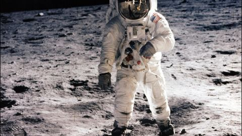 """Astronaut Edwin """"Buzz"""" Aldrin walks on the lunar surface during the Apollo 11 mission."""