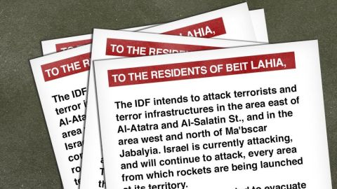The Israeli Defense Force said, on its Twitter account: We are dropping these leaflets above N. Gaza, warning civilians to move away from Hamas terrorists & command centers.