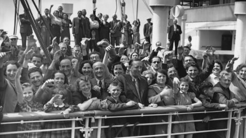 Jewish refugees aboard the St Louis arrive at Antwerp, Belgium, in 1939 after the ship was turned away from the U.S.