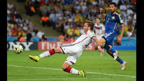 Mario Goetze of Germany scoresthe only goal of the game during extra time during the World Cup final against Argentina at Maracana on July 13 in Rio de Janeiro, Brazil. Germany defeated Brazil 1-0 to become the World Cup champions.