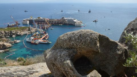 Thirty-two people died when the 114,000-ton vessel, seen here on July 14, ran aground off Giglio in January 2012.