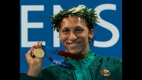 Swimmer Ian Thorpe, seen here in 2004 with one of his five Olympic gold medals, told an Australian news outlet that he is gay in an interview that aired on Sunday, July 13.