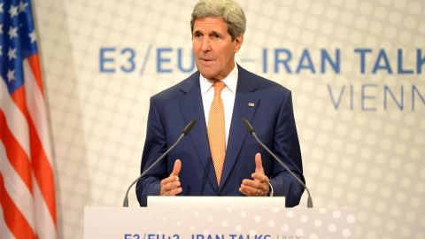 US Secretary of State John Kerry speaks during his final press conference after talks over Tehran's nuclear program in Austria Convention Centre in Vienna, on July 15, 2014. Nuclear talks called E3/EU+3 between Iran and world powers were hanging in the balance after two days of 'very tough' talks between US Secretary of State John Kerry and his Iranian counterpart in Vienna. AFP PHOTO / JOE KLAMAR (Photo credit should read JOE KLAMAR/AFP/Getty Images)