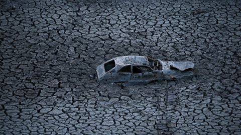 A car sits at the bottom of the Almaden Reservoir in San Jose in January 2014.