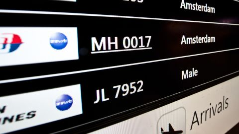 Flight arrivals are listed at the Kuala Lumpur International Airport in Sepang, Malaysia.
