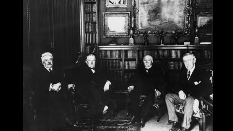 """At the Paris Peace Conference, held earlier in 1919, some 30 nations  convened to reach the terms of peace, but it was """"The Big Four"""" who would hold sway on Versailles' terms.  Left to right: Italian Prime Minister Vittorio Orlando, British Prime Minister David Lloyd George, French Prime Minister Georges Clemenceau and U.S. President Woodrow Wilson."""