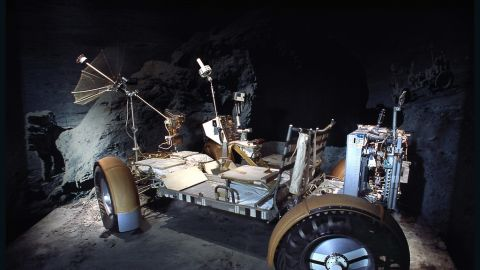 The lunar roving vehicle qualification test unit is on display at the National Air and Space Museum.