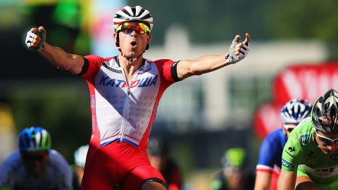 Alexander Kristoff scores his maiden victory on the Tour de France on the 12th stage of the 2014 edition in Saint Etienne.