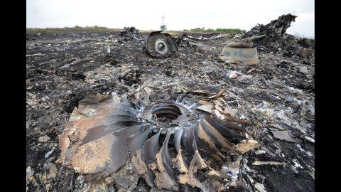 Debris from the jet lies on the burnt ground in Ukraine.