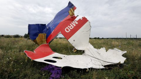 Wreckage from Flight 17 lies in a field in Shaktarsk, Ukraine, on July 18, 2014.