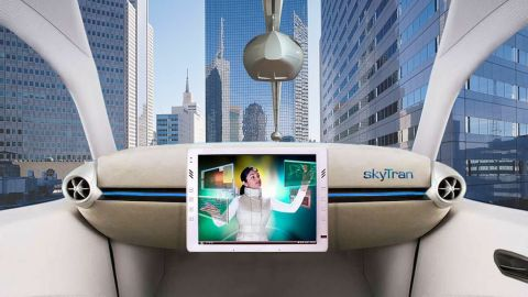 A proposed SkyTran pod interior. The first pilot project will be at the campus of Israel Aerospace Industries, Tel Aviv.