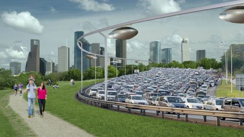 SkyTran's pods would rise above the inconvenience of everyday traffic, on elevated guide rails.