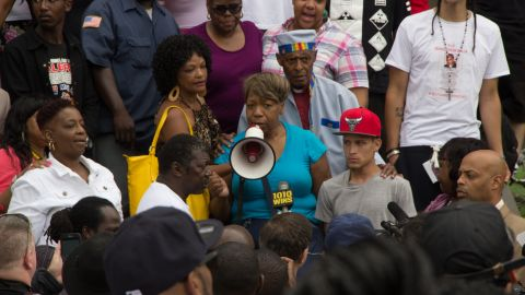 Garner's mother, Gwen Carr, speaks at the July 2014 demonstration.