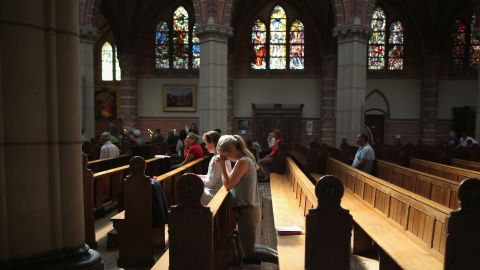 Local people pray during a special mass in Saint Vitus Church in memory of the victims of Malaysia Airlines flight MH17 on July 20  in Hilversum, Netherlands.