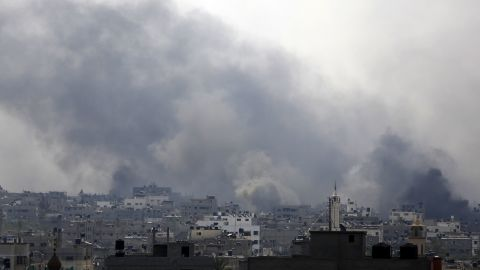 Smoke billows following reported heavy Israeli shelling in Gaza's eastern Shejaiya district on July 20.