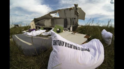 Wreckage from the jet lies in grass near Hrabove on July 21, 2014.