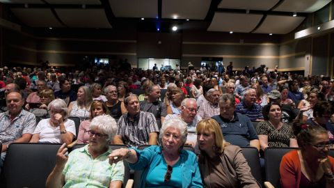 People in Murrieta attend a town hall meeting on Wednesday, July 2, to discuss the processing of undocumented immigrants.