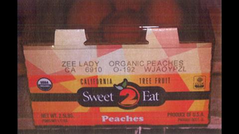 Costco organic peaches (2 1/2 lbs. carton)