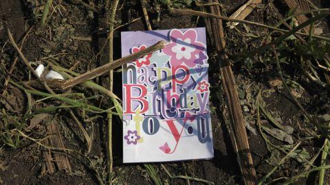 A birthday card found in a sunflower field near the crash site in eastern Ukrain, on Thursday, July 24.