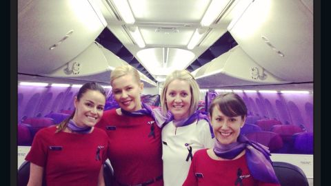"""These flight attendants sent a photo showing their black ribbons to a colleague at another airline who writes a blog, <a href=""""http://confessionsofatrolleydolly.com/"""" target=""""_blank"""" target=""""_blank"""">""""Confessions of a Trolley Dolly""""</a> under the pseudonym Dan Air."""