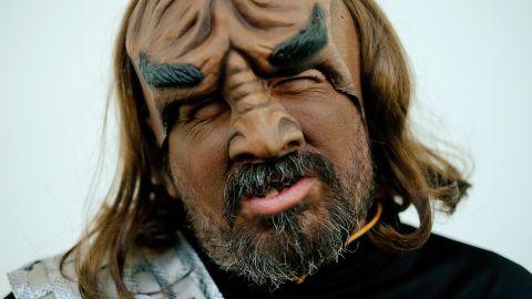 "Fan William Pasini portrays the ""Star Trek"" character Worf on July 24."
