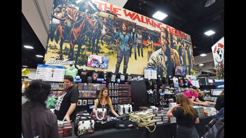 """A merchandising booth for """"The Walking Dead."""""""