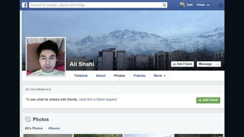 Ali Shahi's Facebook page