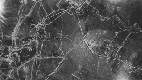 """An aerial reconnaissance photograph from May 29, 1915, shows trench networks at Le Plantin, """"Windy Corner,"""" in France."""