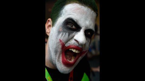 The Joker mugs for the camera on July 26.