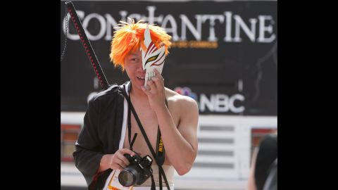 """Ichigo from """"Bleach"""" pauses for a quick photo shoot on July 27."""