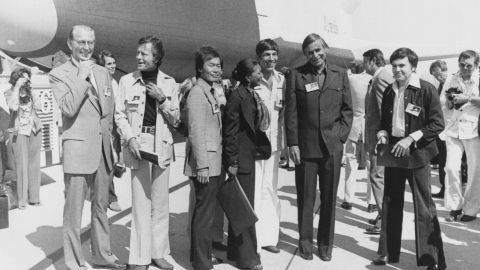 """The Star Trek cast help unveil the space shuttle orbiter OV-101 -- also known as """"Enterprise"""" -- at the NASA/Rockwell International Space Division assembly plant at Palmdale, California, in 1976."""
