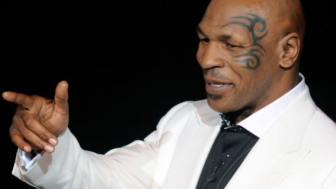 """LAS VEGAS, NV - Mike Tyson performs during the grand opening of his one-man show """"Mike Tyson: Undisputed Truth - Live on Stage"""" at the Hollywood Theatre at the MGM Grand Hotel/Casino April 14, 2012. (Photo by Ethan Miller/Getty Images)"""