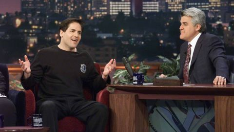 """Cuban is interviewed on """"The Tonight Show"""" by Jay Leno on April 17, 2001."""