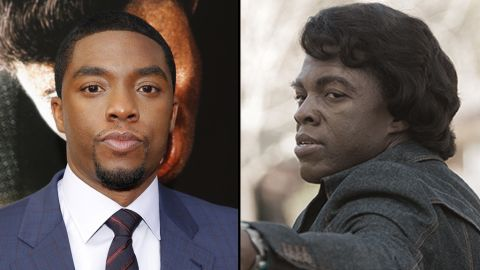 """Chadwick Boseman tells James Brown's story, from beginning to end, in the biopic """"Get On Up."""" The 32-year-old actor portrays Brown through almost every stage of his life, from his late teens to his 60s, with the help of some movie (and makeup) magic, of course."""