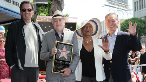 """Actors Leonard Nimoy, Walter Koenig, Nichelle Nichols and George Takei attend Koenig's being honored with a star on the Hollywood Walk of Fame in 2012.  """"I take whatever I do very seriously, otherwise I don't do it,"""" said Nichols."""