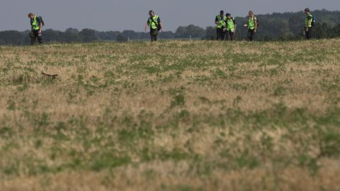 Australian and Dutch experts examine the area of the crash on August 3, 2014.