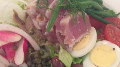 Lafayette, New York: Nicoise salad with rare tuna, anchovy and egg