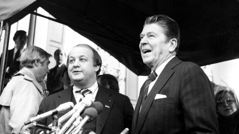 Reagan introduces Brady as his press secretary on January 6, 1981, in Washington.